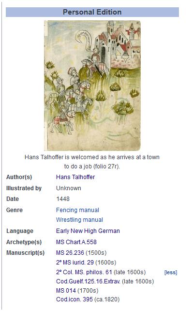Wiktenauer Screenshot von der Informationstafel zum Hans Talhoffer / MS Chart.A.558 Fechtbuch